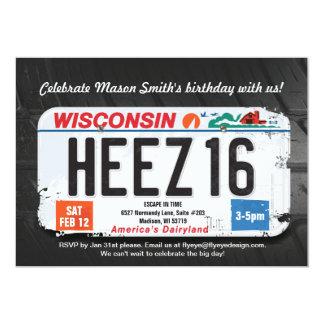 Boy's 16th Birthday Wisconsin License Invitation