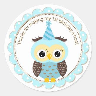 Boys 1st Birthday Blue Owl Thank You Round Sticker