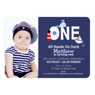 Boys 1st Birthday Nautical Invitation