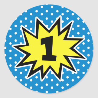 Boys 1st Birthday Number Superhero Sticker