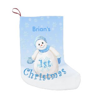Boy's 1st Christmas Snowman Custom Name Small Christmas Stocking