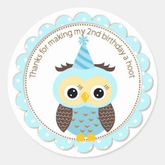 Boys 2nd Birthday Blue Owl Thank You Round Sticker