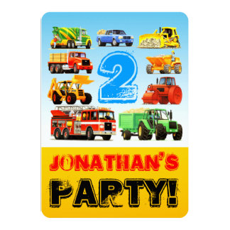 Boy's 2nd Birthday Truck Vehicles Party Card