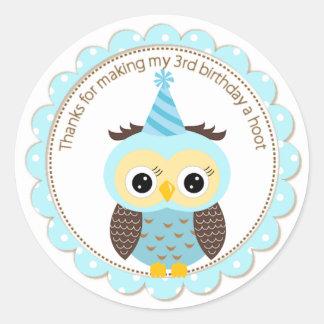 Boys 3rd Birthday Blue Owl Thank You Round Sticker