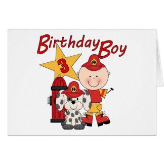 Boys 3rd Birthday Fireman Birthday Greeting Card