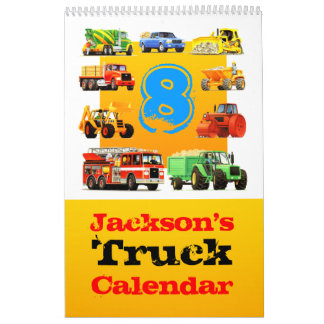 Boys 8th Birthday Big Truck Calendar! Calendar