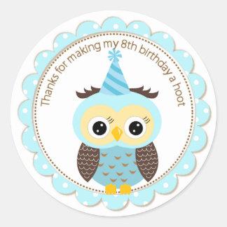 Boys 8th Birthday Blue Owl Thank You Round Sticker