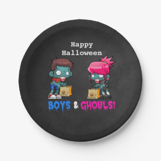 Boys and Ghouls Zombie Halloween Party 7 Inch Paper Plate