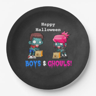 Boys and Ghouls Zombie Halloween Party 9 Inch Paper Plate