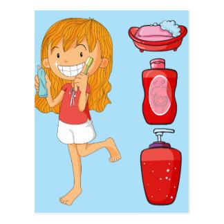 Boys and girl brushing teeth postcard