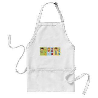 Boys and girl brushing teeth standard apron