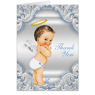 Boys Angel Baptism Thank You Note Card