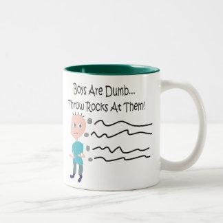 """Boys are Dumb """"Throw Rocks At Them!"""" Two-Tone Coffee Mug"""