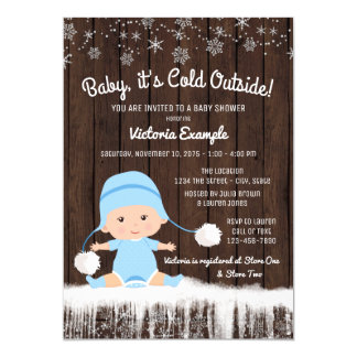 """Boys Baby its Cold Outside Winter Baby Shower 5"""" X 7"""" Invitation Card"""