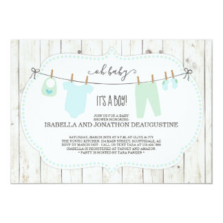 Boy's Baby Shower Invitation | Rustic Clothesline