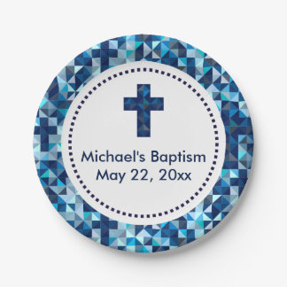 Boy's Baptism Christening First Communion 7 Inch Paper Plate