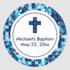 Boy's Baptism First Communion Confirmation Favours Classic Round Sticker