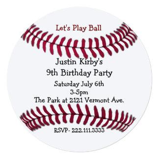 "Boy's Baseball Birthday Party Invitation 5.25"" Square Invitation Card"