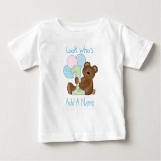 Boys Bear Look Who's 1 Birthday Tshirt