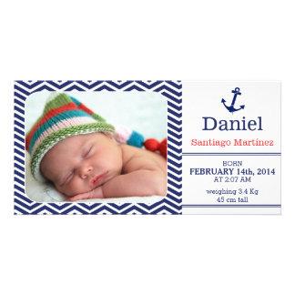 Boys Birth Announcement Photo-card Nautical Card