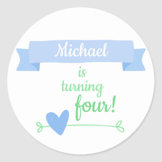Boy's Birthday Celebration Classic Round Sticker