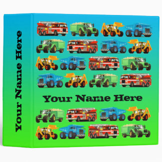 Boys Birthday Custom Construction Truck Binder