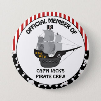 Boys Black Pirate Ship 3 Inch Round Button