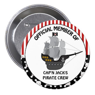 Boys Black Pirate Ship 3 Inch Round Button