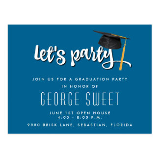 Boys Blue 2017 Graduation Party Invite Postcard