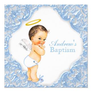 "Boys Blue Angel Baptism 5.25"" Square Invitation Card"