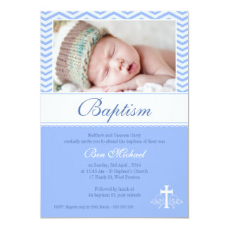 Boys Blue Chevron Baptism Invitation