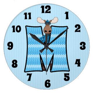 """Boy's Blue Moose Knit Pattern Mongoram """"M"""" Large Clock"""