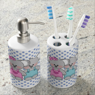 Boys Blue Polka Dot Koala Bear Bathroom Set