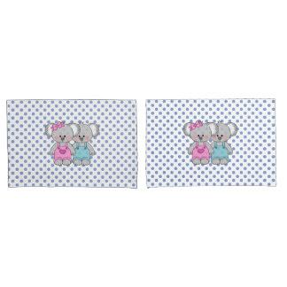 Boys Blue Polka Dot Koala Bear Pillow Case set Pillowcase