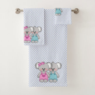Boys Blue Polka Dot Koala Bears Towel Set
