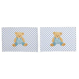 Boys Blue Polka Dot Teddy Bear Pillow Case Set