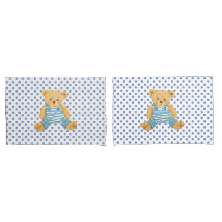 Boys Blue Polka Dot Teddy Bear Pillow Case Set Pillowcase
