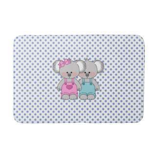 Boys Blue Polka Dot W/ Koala Bear Bath Mat