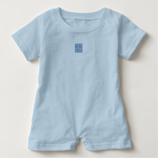 Boy's blue romper with design on front