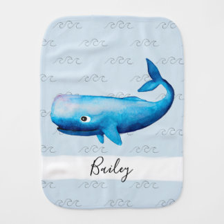 Boy's Blue Sea Watercolor Whale Waves Beach Name Burp Cloth