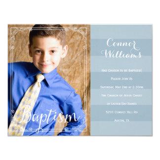 Boys Blue Stripe Baptism Invitation