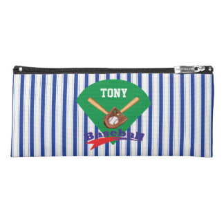 Boy's Blue Stripe Baseball Pencil Case W/ Name