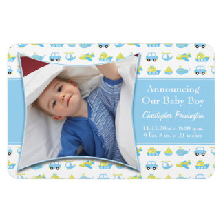 Boys blue travel time baby announcement magnet