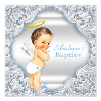 Boys Blue White Angel Boy Baby Baptism Card