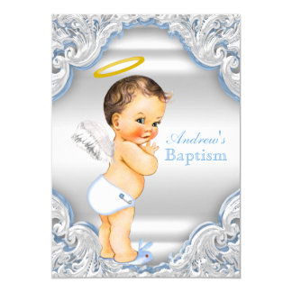 Boys Blue White Angel Boy Baby Baptism Card