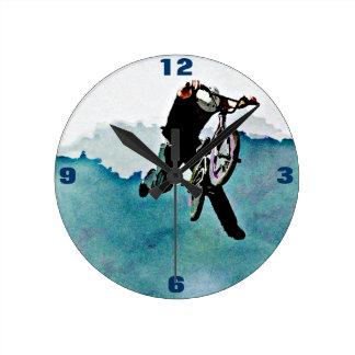 Boys BMX Bike Stunt Blue Grunge Art Round Clock