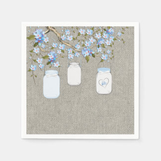 Boys Burlap Mason Jar Baby Shower Paper Napkin