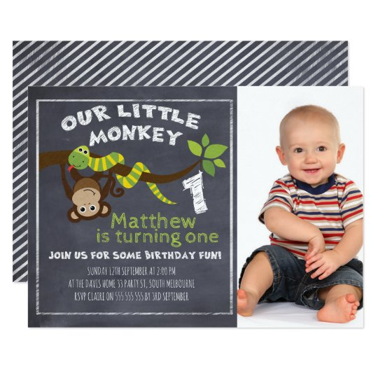 Boys Calkboard Monkey 1st Birthday Invitation