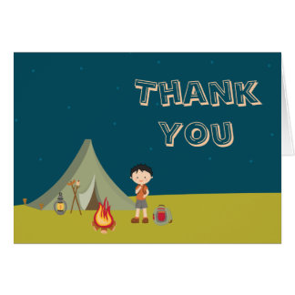 Boy's Camping Birthday Thank You Folded A7 Card
