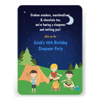 Boys Camping Sleepover Birthday Party Invitation